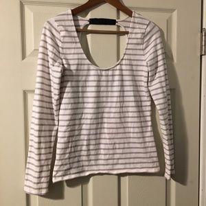 🥑 Victoria's Secret beige white striped blouse M